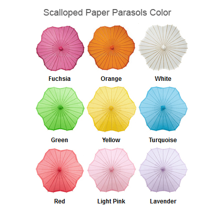Scalloped Paper Parasols Color