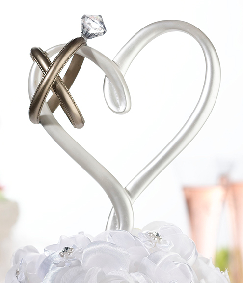 Wedding Cake Toppers Double Rings Heart With Rings Wedding Cake