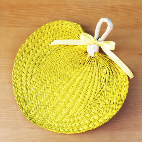 Yellow Palm Leaf Hand Fans
