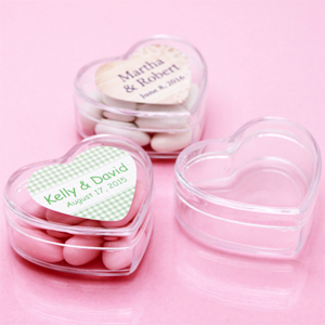 Personalized Heart Clear Boxes - 12 pcs