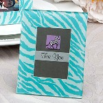 Aqua Blue Zebra Pattern Place Card Holder- Picture Frame Favors
