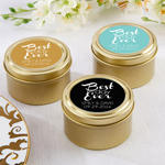 Best Day Ever Personalized Gold Round Candy Tins - 12 pcs