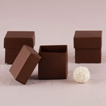 Chocolate Brown Square Favor Box With Lid - Set of 10