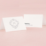 Classic Filigree Monogram Simplicity Place Card With Fold