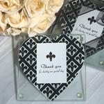 Classic Heart Design Fleur de Lis Photo Coaster