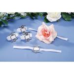 Corsage Wristlet - White Velcro - 8 inches