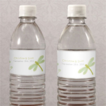 Decorative Dragonfly Water Bottle Label - 12 pieces