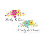 Floral Bloom Personalized Oval Labels - 20 pieces