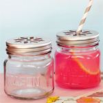 Mason Drinking Jars with Flower Lids