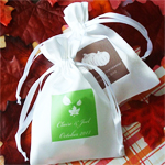 Personalized Fall Silhouette Satin Favor Bag