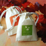 Personalized Natural Cotton Fall Silhouette Favor Bag