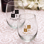 Personalized Stemless Wine Glass Favors