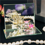 Regal Rose Arte Murano Glass Rose and Mirror