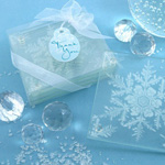 """""""Shimmering Snow Crystal"""" Frosted Snowflake Glass Coasters (Set of 4)"""