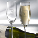 Single Initial Toasting Flutes Set