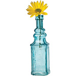 Small Turquoise Blue Vintage Glass Bottle (square design)