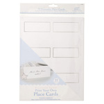 White with Silver Trim Blank Place Cards -  - 72 pieces