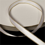 "White 3/8"" Satin Ribbon Polyester with Gold Edge"