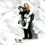 Winter Skiing Wedding Couple Cake Topper