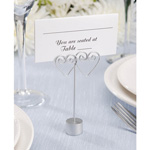 Wire Place Card Holder - Double Heart - Silver - 12 pieces