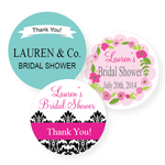Bridal Shower Personalized Round Labels - 20 pieces