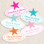 Personalized Dancing Starfish Oval Labels - 24pcs
