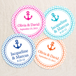 Personalized Anchor Gingham Round Labels -24 pcs