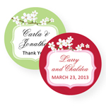 Cherry Blossom Personalized Round Labels - 20 pcs