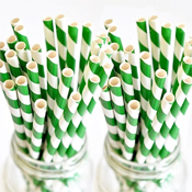 Classic Green and White Striped Paper Straws - set of 75