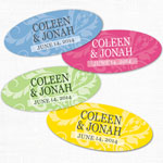 Damask Oval Shaped Personalized Labels - 24 pcs