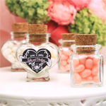 Heart or Square Shaped Glass Favor Jars