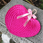 Hot Pink Palm Leaf Hand Fans - 10 pcs