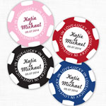 Lucky in Love Poker Chip Personalized Round Labels - 20 pcs