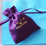 Monogram Satin Drawstring Favors Bags