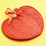 Orange Palm Leaf Hand Fans - 10 pieces