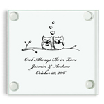 Owl Personalized Glass Coasters