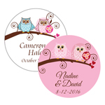 Owl Personalized Round Labels - 12 pcs
