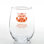 Owl Personalized Stemless Wine Glass Favors