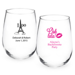 Paris Personalized Stemless Wine Glass Favors