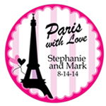 Paris with Love Personalized Round Sticker - 10 pcs