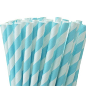 Caribbean Blue And White Stripes Paper Straws - set of 75