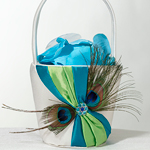 Peacock Feather Flower Basket