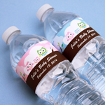 Family Owl Personalized Water Bottle Labels - 12 pcs