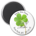 Shamrock Personalized Round Save The Date Magnet