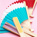 Solid Color Paper Hand Fans - 10 pcs
