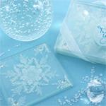Sparkly Snowflakes Glass Photo Coasters