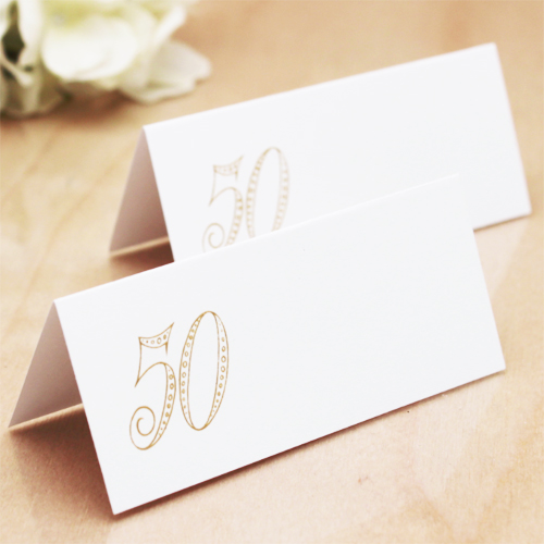 50th wedding anniversary place cards 50 pcs for Personalized wedding place cards