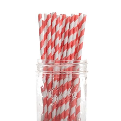 Coral Striped Paper Straws