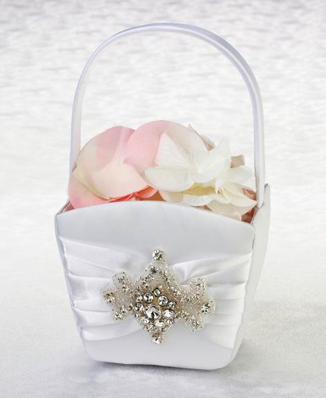 Flower Girl Basket Kit : Jeweled motif flower girl basket baskets