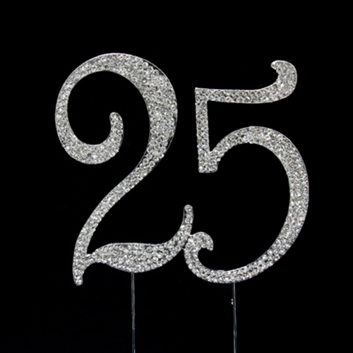 Number 25 Rhinestone Cake Topper Wedding Cake Toppers